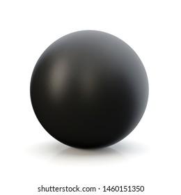 3d black sphere in studio environment, on white background 3d illustration