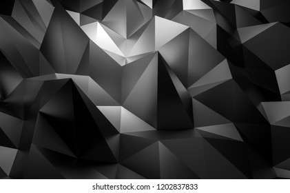3d black tech geometric Low poly corporate illustration background.