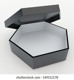 3d black and white bento boxes, sushi boxes set  packaging hexagon box and free open lids for blank template products in isolated background with clipping paths, work paths included