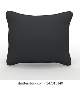 3d black white pillows, cushions blank template in isolated with clipping paths, work paths included