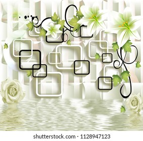 3d Black and white rectangular abstraction background.