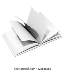3d blank book with browsing pages on white background 3D illustration