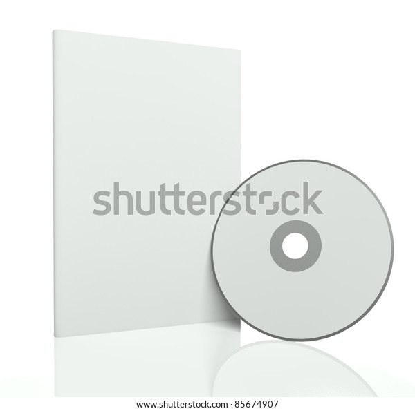 3d blank box and cd or dvd disk