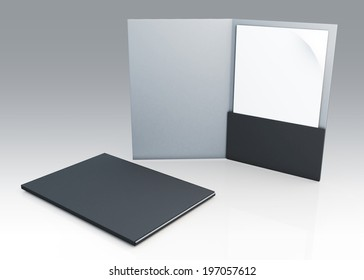 3D blank clean white and grey folder for document papers sheets A4 container in isolated background with work paths, clipping paths included