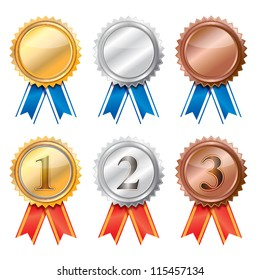 3d blank Gold, silver and bronze award ribbons.