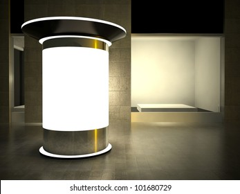 3d blank street advertising column and empty glass showcase at night