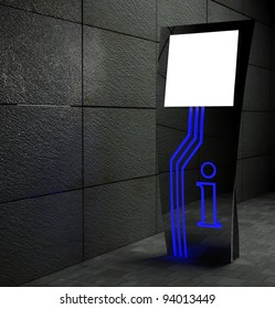 3d blank street touch screen stand at night