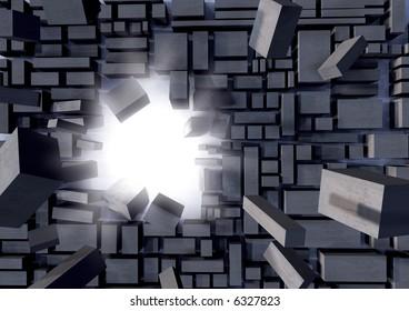 3D blocks breaking apart showing success.