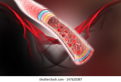 3D Blood vein with red blood cells isolated on color background