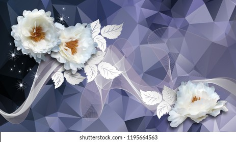 3d blue abstractions background, white chrysanthemums from textile and paper leaves. 3d rendering. Flower theme - this is a trend in interior design.