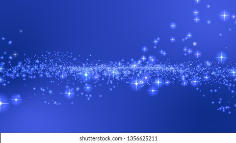 3D Blue background, digital signature with particles, sparkling waves, curtains and areas with deep depths The particles are white stars.
