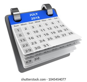 3d blue calendar isolated over white background, july 2018 page