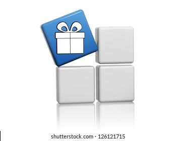 3d blue cube with white gift sign image concept