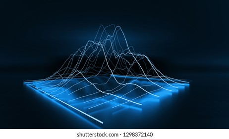 3D Blue modern lined chart graph business on dark background. 3D renderings.