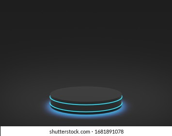 3d blue neon light with black cylinder podium minimal studio black dark background. Abstract 3d geometric shape object illustration render. Display for technology and business game product.