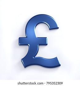 3D Blue Pound Symbol. 3D Render Illustration