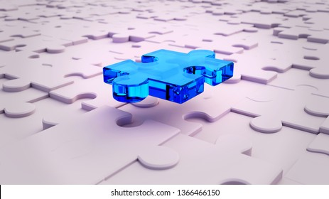 3D Blue Puzzle piece hovering above white puzzle