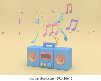 3d blue radio with many music note,key sol cartoon style soft yellow minimal background 3d rendering