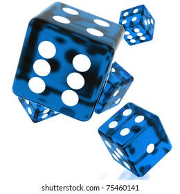 3D Blue rolling dice on white background