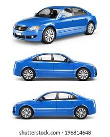 3D Blue Sedan Car