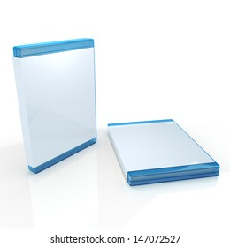 3d bluray jewel case, blue case with blank label, cover packaging box in isolated background with clipping paths, work paths included