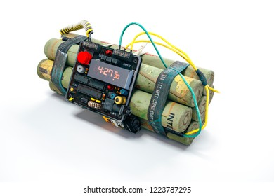 3d bomb with digital clock on white background