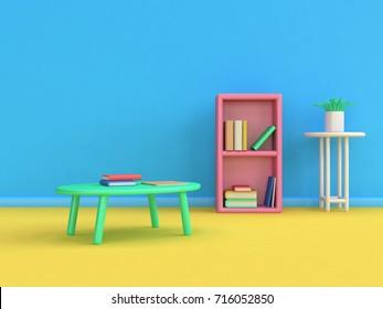 3d bookshelf japan table book cartoon style 3d render blue wall yellow floor scene,education concept