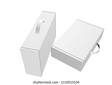 """3d box carton, briefcase packaging for heavy products handle in isolated white background. """" 3d rendering"""""""