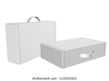 "3d box carton, briefcase packaging for heavy products handle in isolated white background. "" 3d rendering"""