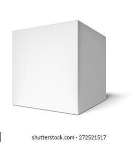 3D. Box, Cube, White.