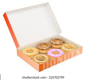 3d Box of donuts. Chocolate Vanilla Strawberry. Isolated white background.