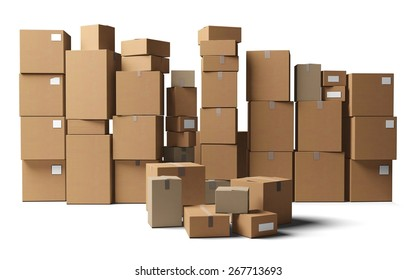 3D. Box, Moving Office, Stack.