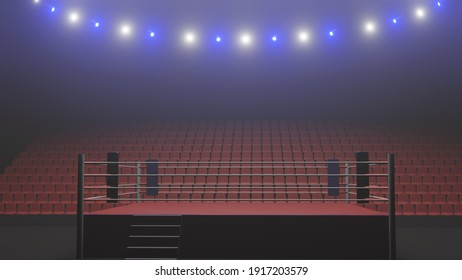 3D boxer arena. Isolated empty boxing ring with light. 3D rendering. Boxing ring with illuminated spotlights. Background