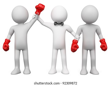 3D Boxing Referee choosing the winner between two boxers. Rendered at high resolution on a white background with diffuse shadows.