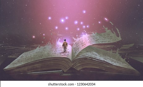 3d Boy standing on the opened giant book with fantasy light, digital art style, illustration painting. 3d Painting A Boy Acquiring All The Knowledge Of The World