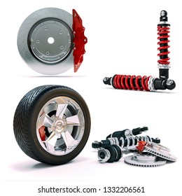 3d brakes, shock absorber and wheel on white background