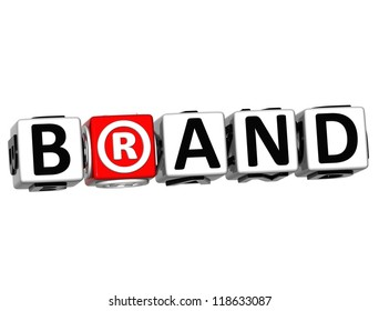 3D Brand Button Click Here Block Text over white background