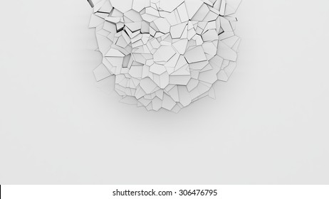 3d breaking wall background.