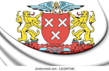 3D Breda coat of arms (North Brabant), Netherlands. 3D Illustration.
