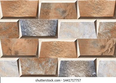 3D brick type pattern wall tile design  background