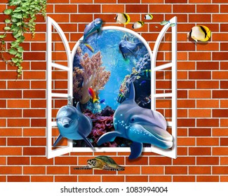 3D Brick wall with dolphins out of window