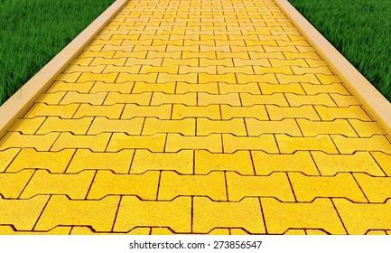 3D. Brick, Yellow, Road.