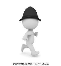 3D British policeman running. 3D rendering isolated on white.