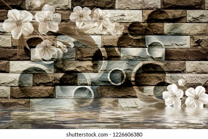 3d Brown bricks circle design with flowers, wallpaper.