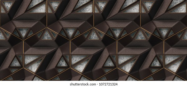 3D brown iron lattice loft panels on gray stucco with gold facets. High quality seamless design texture