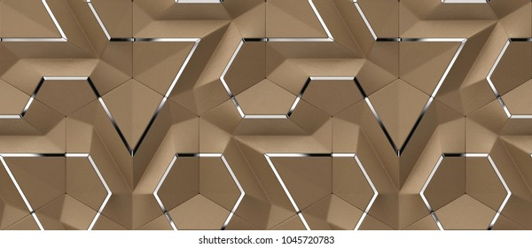 3D brown leather panels with silver decor elements. Glossy and matt geometric modules. High quality seamless design texture.