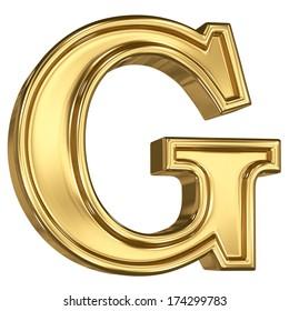 3d brushed golden letter  - G. Isolated on white.