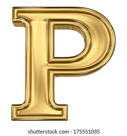 3d brushed golden letter - P. Isolated on white.