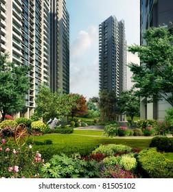 3d building landscape