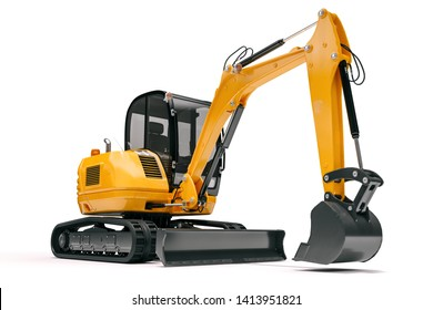 3d bulldozer on white backgorund